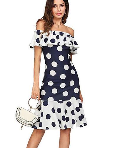 femme grandes tailles basique gaine robe imprim points. Black Bedroom Furniture Sets. Home Design Ideas