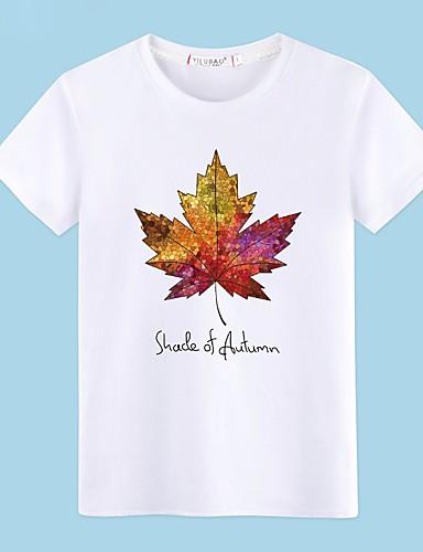 voordelige Heren T-shirts & tanktops-Heren Standaard Print T-shirt Katoen Bomen / bladeren Ronde hals Grijs / Korte mouw / Zomer