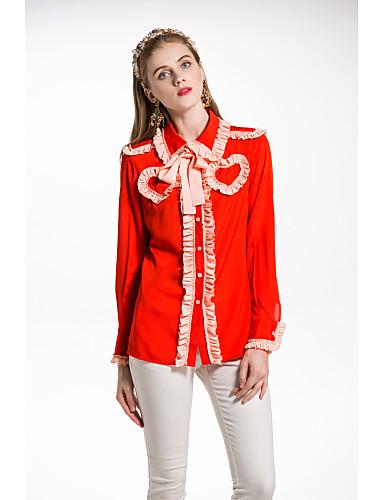 billige Topper til damer-Skjortekrage Skjorte Dame - Ensfarget Grunnleggende
