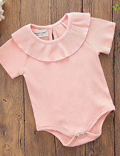 2e7310359 Baby Girls' Basic Daily / Holiday Solid Colored Classic / Stylish / Split Short  Sleeves Cotton Romper Blushing Pink / Cute / Toddler #06642969