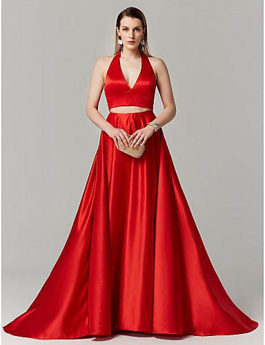 cheap Evening Dresses-Ball Gown Halter Neck Sweep / Brush Train Satin Two Piece Cocktail Party / Prom / Formal Evening Dress with Bow(s) by TS Couture®