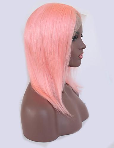 billige Blondeparykker med menneskehår-Ekte hår Blonde Forside Parykk Bobfrisyre Kardashian stil Brasiliansk hår Rett Lyserød Parykk 130% Hair Tetthet med baby hår Naturlig hårlinje Blekte knuter Dame Kort Blondeparykker med menneskehår