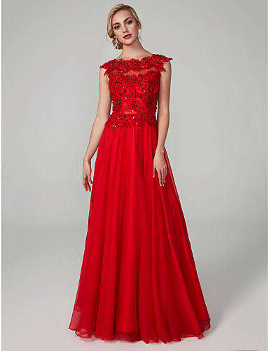 0de253765778 A-Line Boat Neck   Bateau Neck Floor Length Chiffon   Lace Open Back  Cocktail Party   Prom   Formal Evening Dress with Beading   Appliques    Sash   Ribbon ...