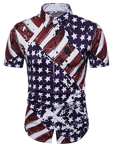 abordables Camisas de Hombre-Hombre Básico Tallas Grandes Camisa Geométrico Morado XL / Manga Corta / Verano
