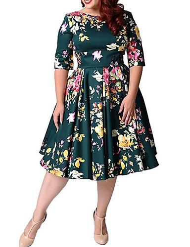 voordelige Grote maten jurken-Dames Grote maten Uitgaan Vintage A-lijn Jurk - Bloemen, Print Tot de knie