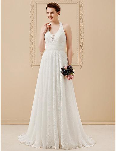 55016d2a786 Γραμμή Α Δένει στο Λαιμό Μακρύ Όλο δαντέλα Φορέματα γάμου φτιαγμένα ...