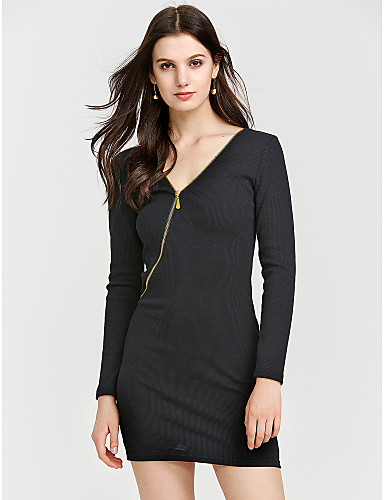 Damen Baumwolle Bodycon Kleid Solide Übers Knie V-Ausschnitt Hohe Taillenlinie