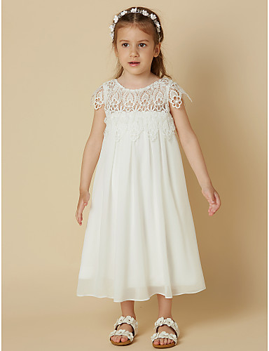 Sheath / Column Knee Length Flower Girl Dress - Chiffon / Lace Short Sleeve Scoop Neck with Lace by LAN TING BRIDE®