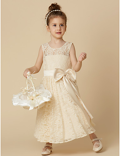 92851a037fe A-Line Tea Length Flower Girl Dress - Lace Sleeveless Jewel Neck with  Bow(s)   Sash   Ribbon by LAN TING BRIDE®