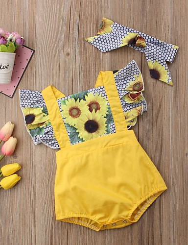 cheap With Lovely Romper-Baby Girls' Active Daily / Holiday Floral / Color Block Ruffle / Ruched / Floral Short Sleeves Polyester Romper Yellow / Cute / Print / Toddler