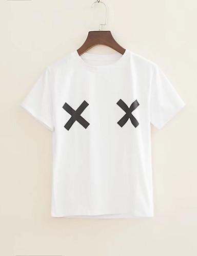 T-shirt Damskie Podstawowy Bawełna Jendolity kolor / Geometryczny