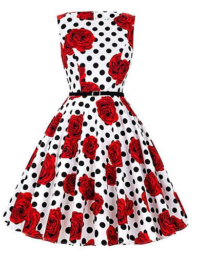 Damskie Moda miejska Spódnica Sukienka - Kwiaty Midi / Lato