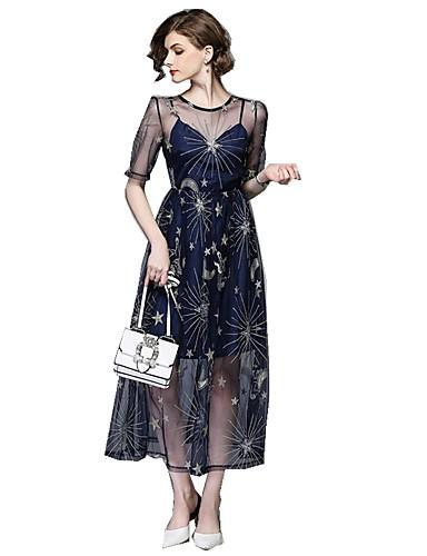 Γυναικεία Εξόδου Βασικό / Κομψό στυλ street Swing Φόρεμα - Γεωμετρικό Μακρύ