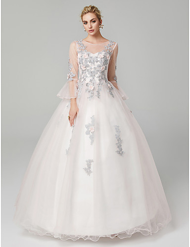 5dd1a0a33da6 Ball Gown Illusion Neck Floor Length Tulle / Floral Lace See Through Formal  Evening Dress with Appliques by TS Couture® 5569840 2019 – $119.99