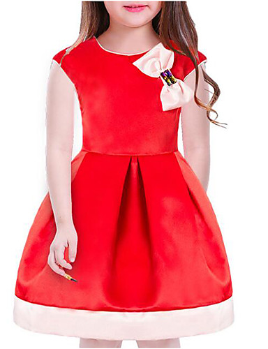 Sukienka Bawełna Poliester Dziewczyny Jendolity kolor Krótki rękaw Na co dzień Czerwony Blushing Pink