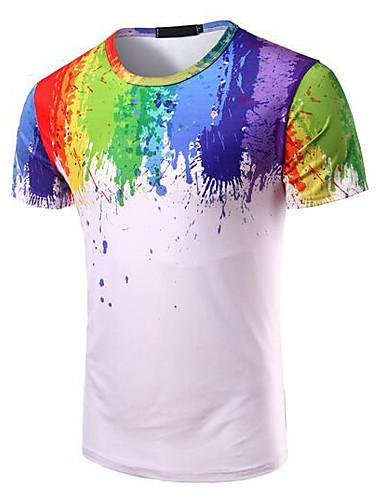 T-shirt Męskie Aktywny Okrągły dekolt Tęczowy / Krótki rękaw