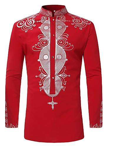 d1a5dc8a5a806 Men s Shirt - Tribal Print Standing Collar Red XL   Long Sleeve