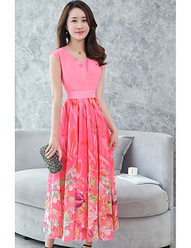 Per donna Taglie forti Moda città Swing Vestito Fantasia floreale A V Maxi  Vita alta Rosso 3e72c353c17