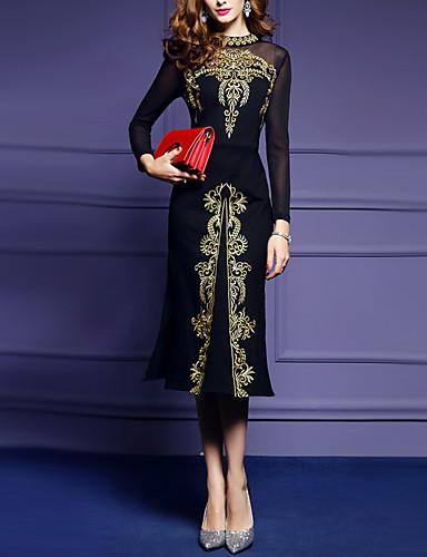 voordelige Grote maten jurken-Dames Grote maten Slank Schede Jurk - Effen Midi Zwart