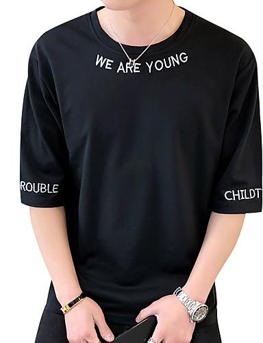 T-shirt Męskie Podstawowy / Moda miejska, Nadruk Bawełna Okrągły dekolt Solidne kolory