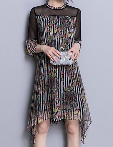 Damskie Wyjściowe Moda miejska Jedwab Szczupła Shift Sukienka - Kwiaty Półgolf Wysoka Talia Przed kolano