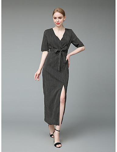Damskie Wyrafinowany styl Moda miejska Bodycon Pochwa Sukienka swingowa Sukienka - Jendolity kolor, Rozcięcie Maxi