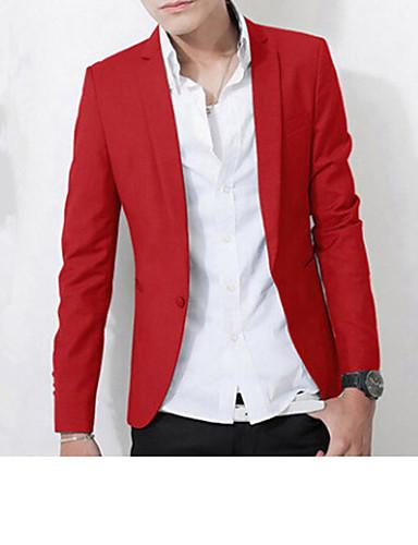 fa4fa705e6e Men's Daily / Work Spring / Fall Plus Size Regular Blazer, Solid Colored Long  Sleeve Polyester Pink / Dark Red / Royal Blue XL / XXL / XXXL / Slim  #02898228