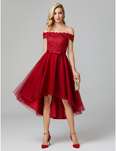 764383958e910 A-Line Off Shoulder Asymmetrical Lace Over Tulle High Low Cocktail ...