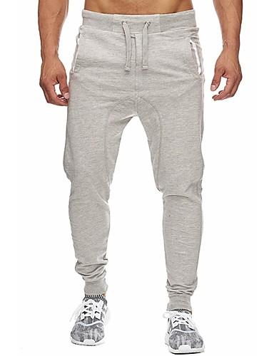 สำหรับผู้ชาย Sporty / พื้นฐาน ฝ้าย กางเกงวอร์ม กางเกง - สีพื้น สีดำ