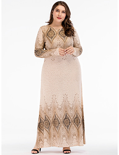 voordelige Grote maten jurken-Dames Street chic Elegant Recht Chiffon Jurk - Geometrisch, Patchwork Print Maxi