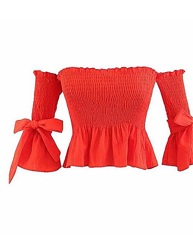 T-shirt Damskie Biznes, Frędzel Bawełna Solidne kolory Bufka