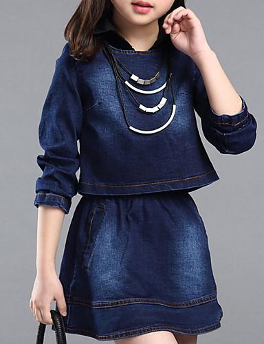 Mädchen Kleidungs Set Alltag Patchwork Baumwolle Frühling Herbst Blau