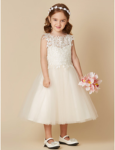 37bc422da45 A-Line Tea Length Flower Girl Dress - Lace   Tulle Sleeveless Jewel Neck  with Lace by LAN TING BRIDE® 5628277 2019 –  62.99