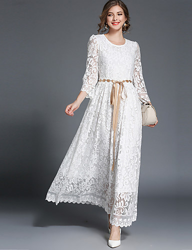 cheap Designers Collections-Women's Lace Party / Going out Vintage / Street chic Maxi Swing Dress - Solid Colored Lace High Waist Spring White L XL XXL