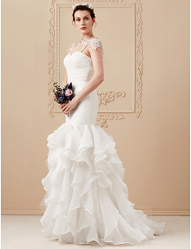 30714d53718c6 Mermaid / Trumpet Sweetheart Neckline Sweep / Brush Train Organza / Tulle  Made-To-Measure Wedding Dresses with Crystal Floral Pin by LAN TING BRIDE®  ...