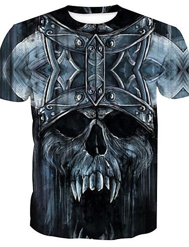 db2a70e7cdfc Ανδρικά T-shirt Βασικό - Βαμβάκι Νεκροκεφαλές Στρογγυλή Λαιμόκοψη Στάμπα  Μαύρο XL   Κοντομάνικο