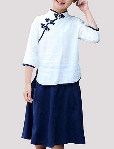 Dívčí Patchwork Sady oblečení, Bavlna Jaro Léto Podzim 3 / 4 rukávy Bílá Světlá růžová