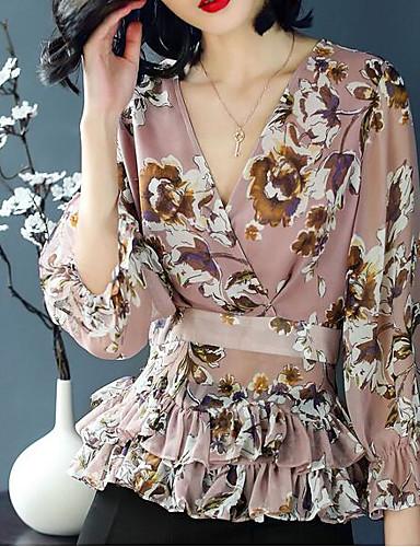 Koszula Damskie Frędzel Bawełna Kwiaty Bufka