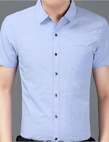 Koszula Męskie Podstawowy Bawełna Szczupła - Solidne kolory / Krótki rękaw
