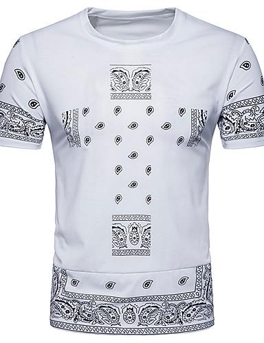 abordables Camisetas y Tops de Hombre-Hombre Chic de Calle Camiseta, Escote Redondo Geométrico Blanco L / Manga Corta / Verano