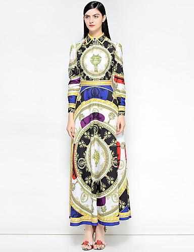 billige Kjoler-Dame Vintage / Gatemote Bomull Tynn Swing Kjole - Blomstret / Abstrakt Skjortekrage Maksi