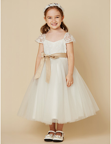 d9b5394cef4 A-Line Tea Length Flower Girl Dress - Lace   Tulle Short Sleeve V Neck with  Bow(s)   Sash   Ribbon by LAN TING BRIDE®