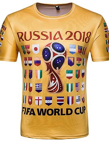 T-shirt Męskie Podstawowy, Nadruk Okrągły dekolt Geometric Shape / Krótki rękaw