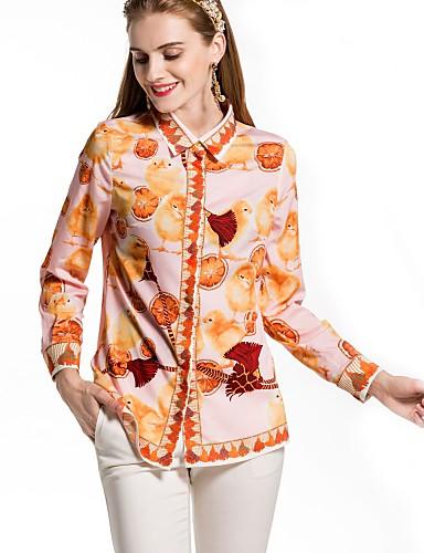 Pratico Camicia Per Donna Essenziale Tinta Unita - Fantasia Floreale Colletto #06644763
