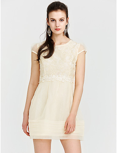 Women's Cute Street chic A Line Sheath Lace Dress - Solid Colored Geometric, Lace High Rise
