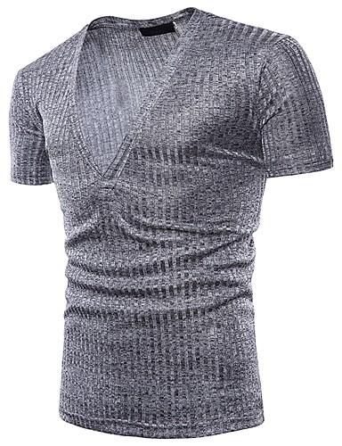 billige T-shirts og undertrøjer til herrer-Herre - Ensfarvet Jacquard Basale / Gade T-shirt Mørkegrå L / Kortærmet / Sommer