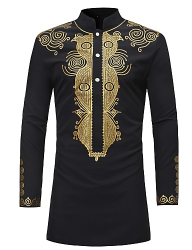 cheap Up to 90% off-Men's Vintage Shirt - Tribal Print Standing Collar / Long Sleeve