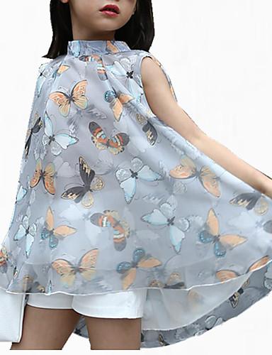 שמלה פוליאסטר קיץ שרוול קצר ליציאה פרחוני הילדה של