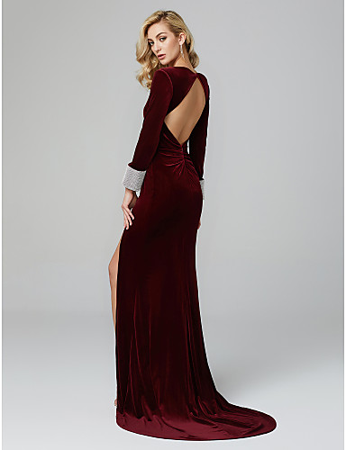 d6e2b06261aa Mermaid / Trumpet Plunging Neck Sweep / Brush Train Velvet Cocktail Party /  Prom / Formal Evening Dress with Crystals by TS Couture®