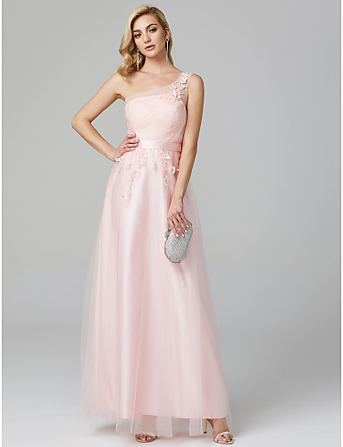 6cccf8e273f5 Γραμμή Α Ένας Ώμος Μακρύ Δαντέλα πάνω από τούλι Επίσημο Βραδινό Φόρεμα με Διακοσμητικά  Επιράμματα   Λουλούδι με TS Couture®
